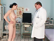 Ester visits gray gyno clinic for her minge checking