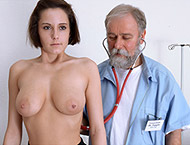 Anabelle, 21 years. Checkup with breasts and abdomen exam, enema, anal exam, ultrasound, two speculums, vibrator orgasm and suppository.