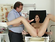 Amanda gets a gynecological tool up her pussy during gyno examination