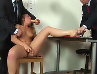 Office dildo sex maledom