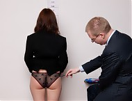 Office interview upskirt