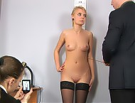 Interview woman undressing