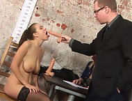 Submissive DP office sex
