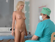 Blonde nude medical examinee