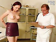 Curious practitioner is fingering and examining Rachael